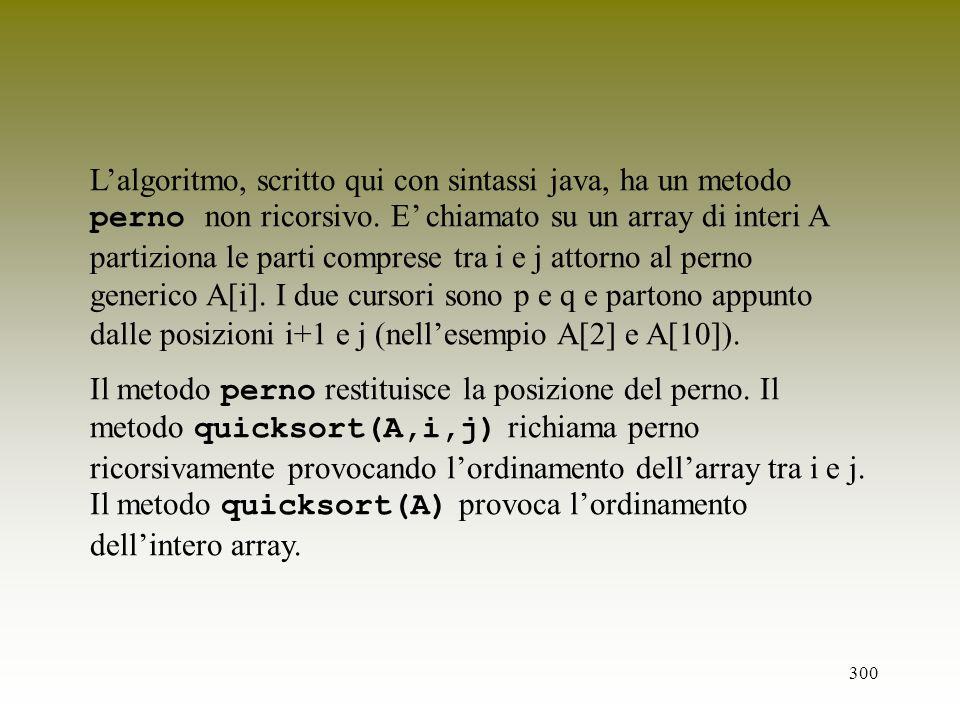 L'algoritmo, scritto qui con sintassi java, ha un metodo perno non ricorsivo. E' chiamato su un array di interi A partiziona le parti comprese tra i e j attorno al perno generico A[i]. I due cursori sono p e q e partono appunto dalle posizioni i+1 e j (nell'esempio A[2] e A[10]).